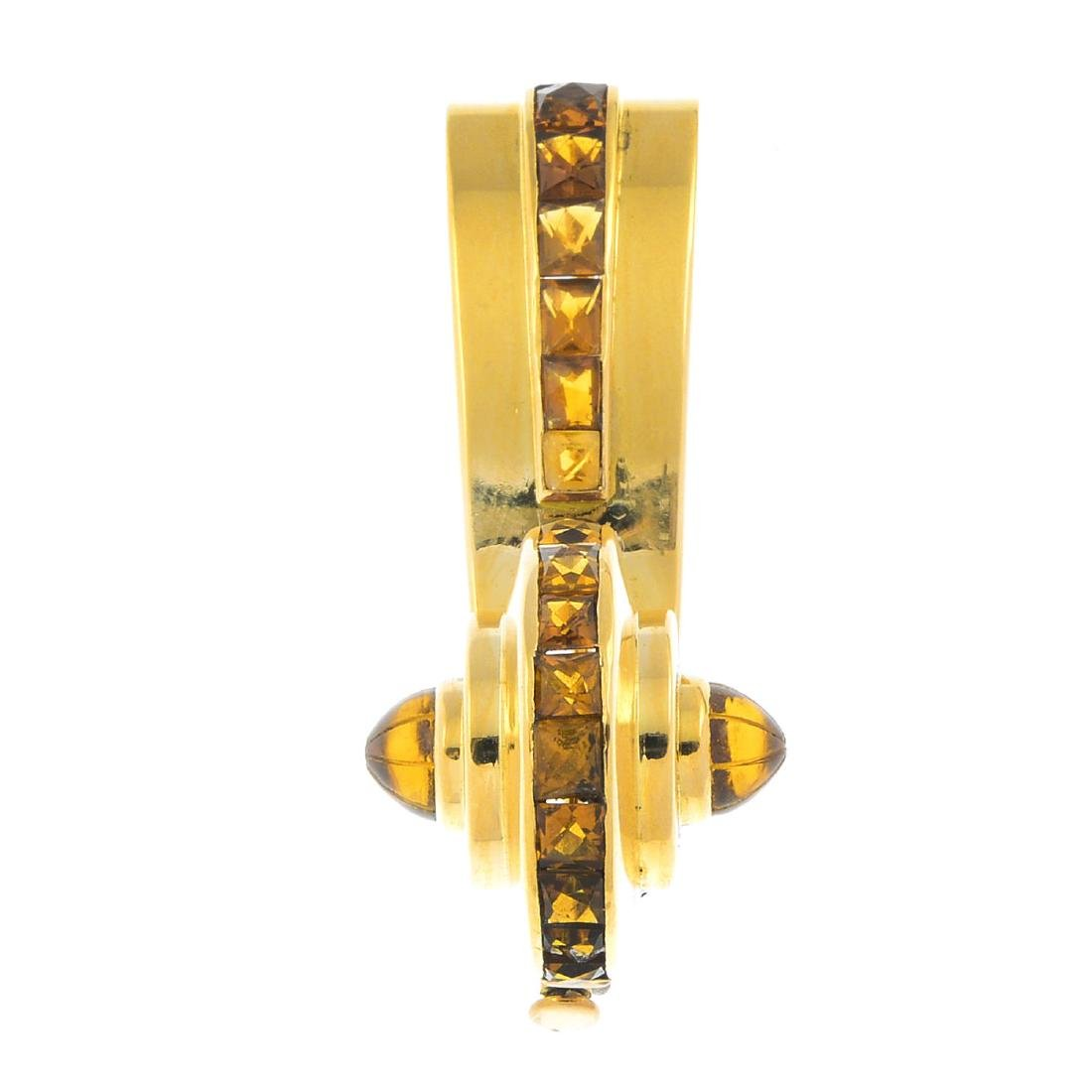 RENE BOIVIN - 1940s gold citrine brooch. Designed as a
