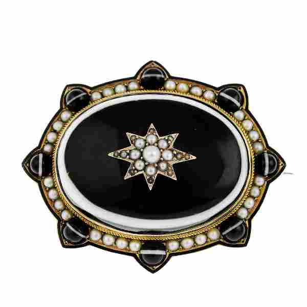 A late Victorian gold agate and split pearl brooch.