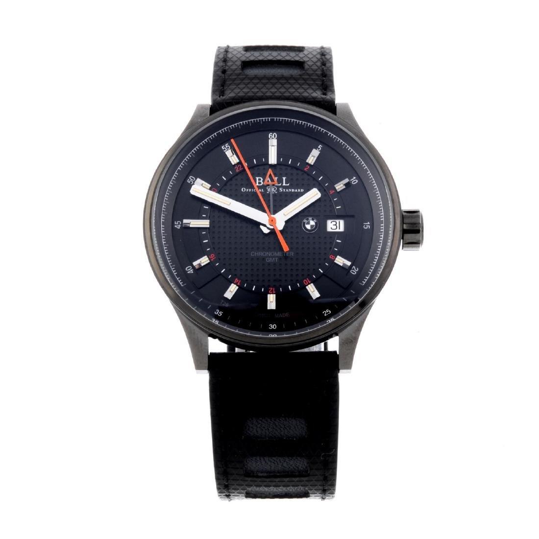 BALL - a gentleman's 'BMW' GMT wrist watch. DLC-treated