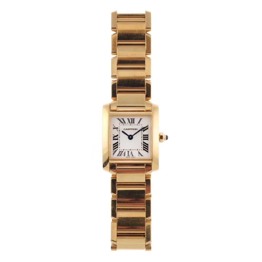 CARTIER - a Tank Francaise bracelet watch. 18ct yellow