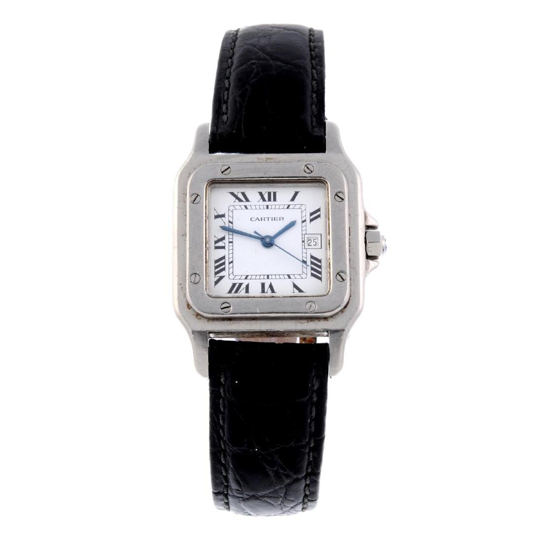 CARTIER - a Santos wrist watch. Stainless steel case.