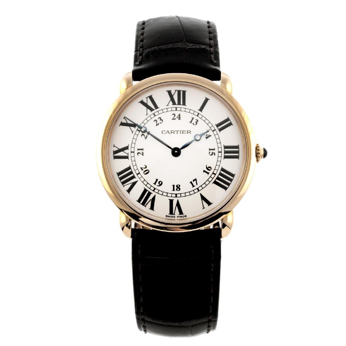CARTIER - a Ronde Louis Cartier wrist watch. 18ct rose