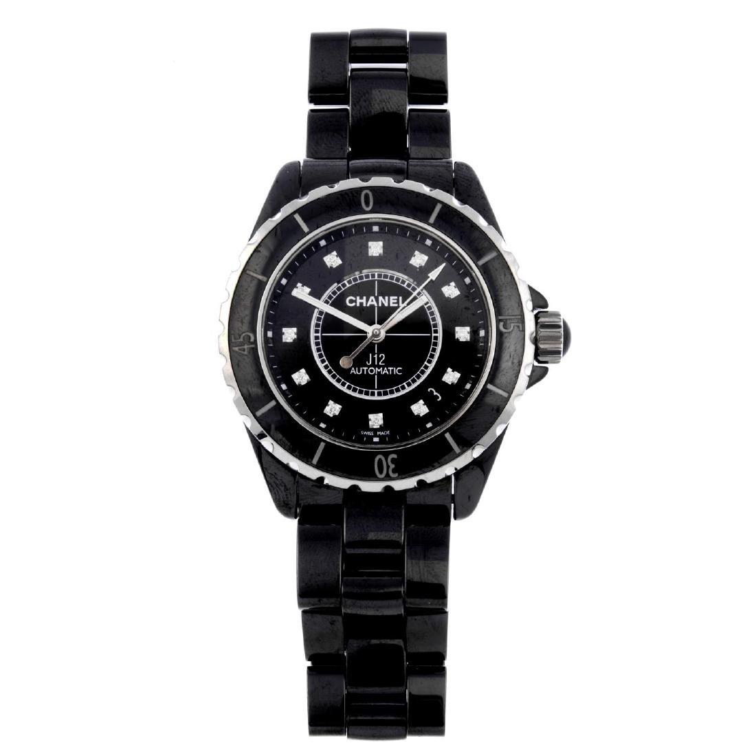 CHANEL - a lady's J12 bracelet watch. Black ceramic