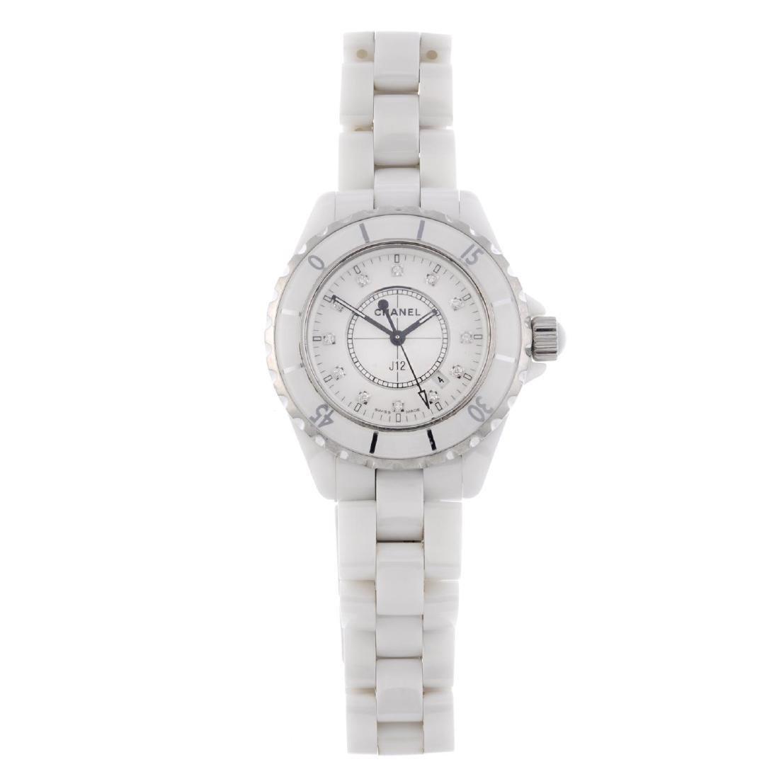 CHANEL - a lady's J12 bracelet watch. White ceramic