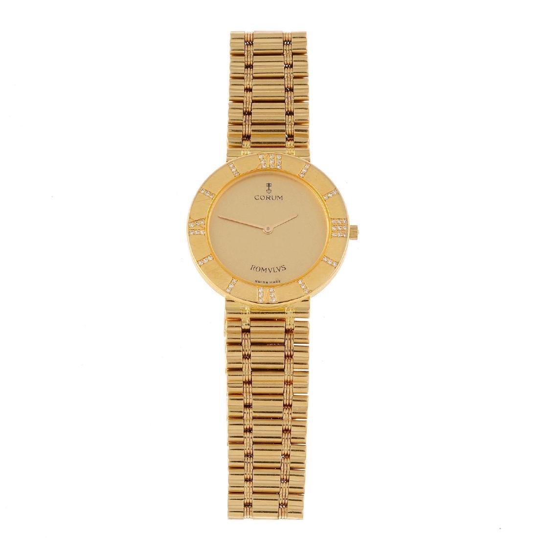 CORUM - a lady's Romulus bracelet watch. 18ct yellow