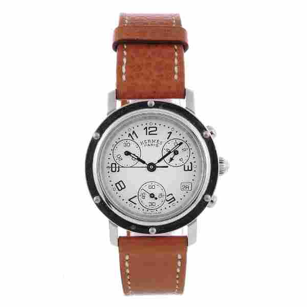 HERMÈS - a lady's Clipper chronograph wrist watch.