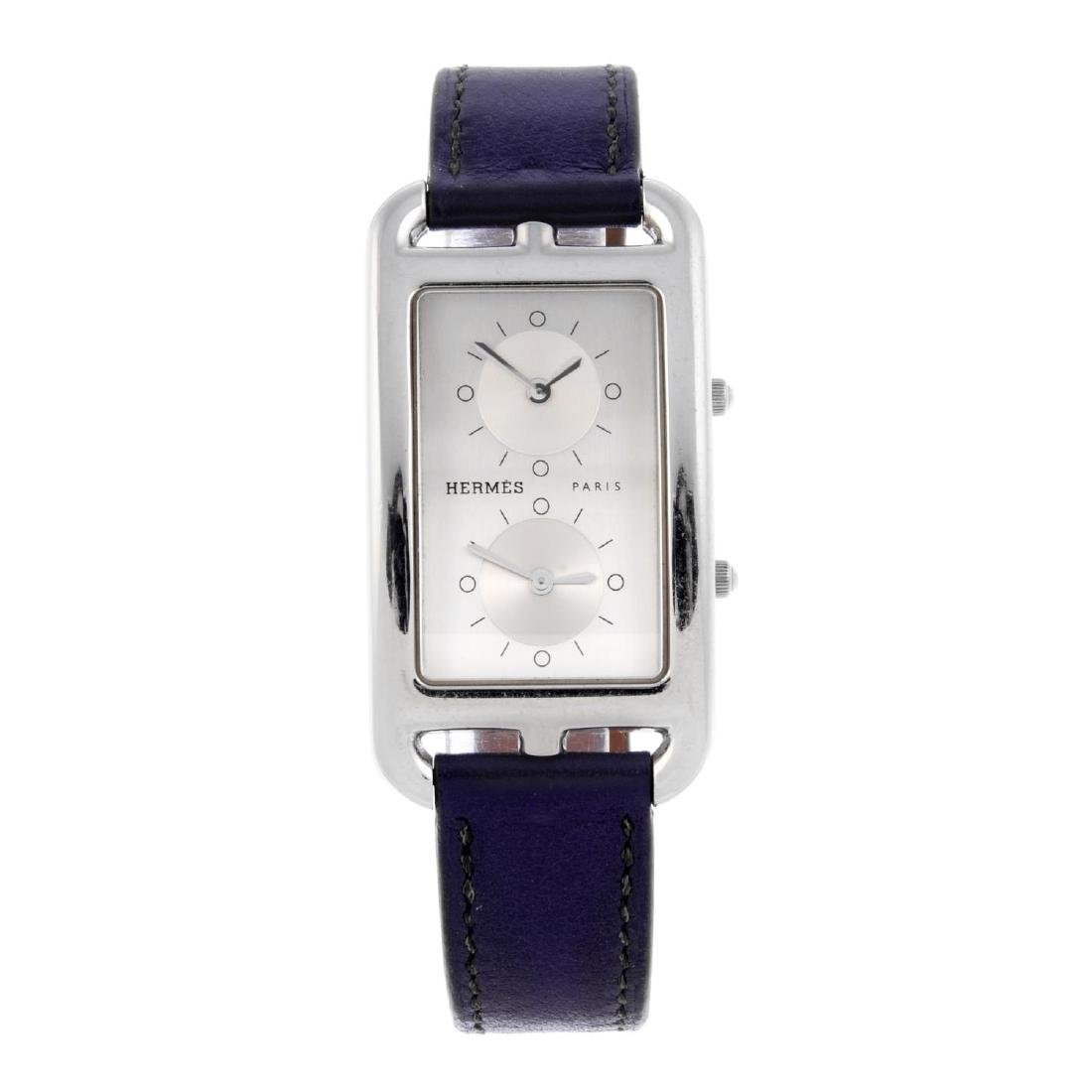 HERMÈS - a Cape Cod Dual Time wrist watch. Stainless