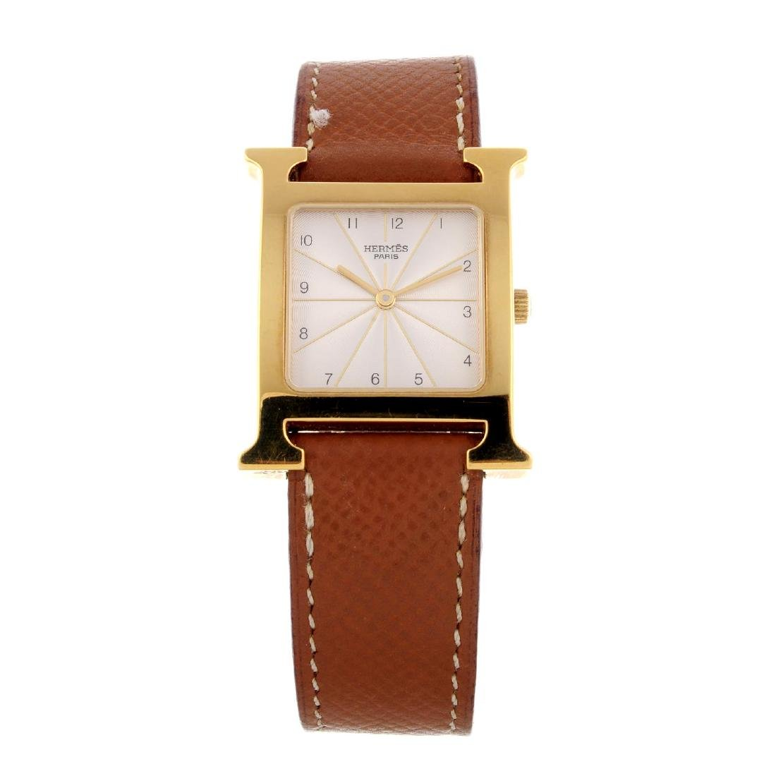 HERMÈS - a Heure H wrist watch. Gold plated case with