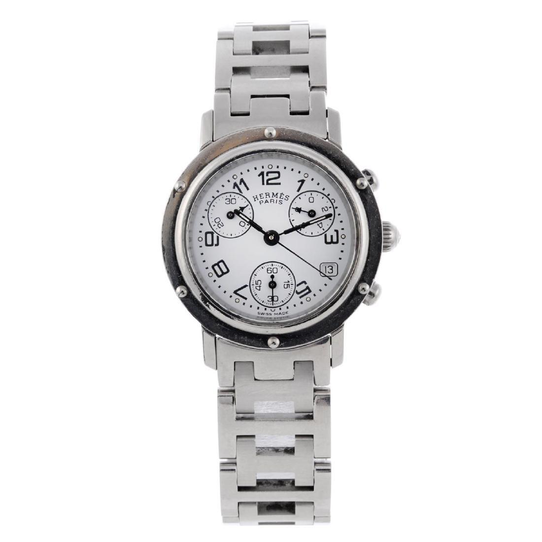 HERMÈS - a lady's Clipper chronograph bracelet watch.