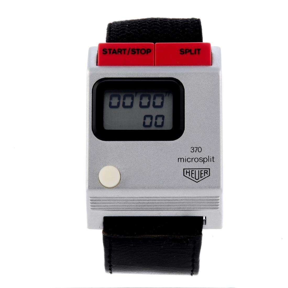 HEUER - a 370 Microsplit sports timer wrist watch.