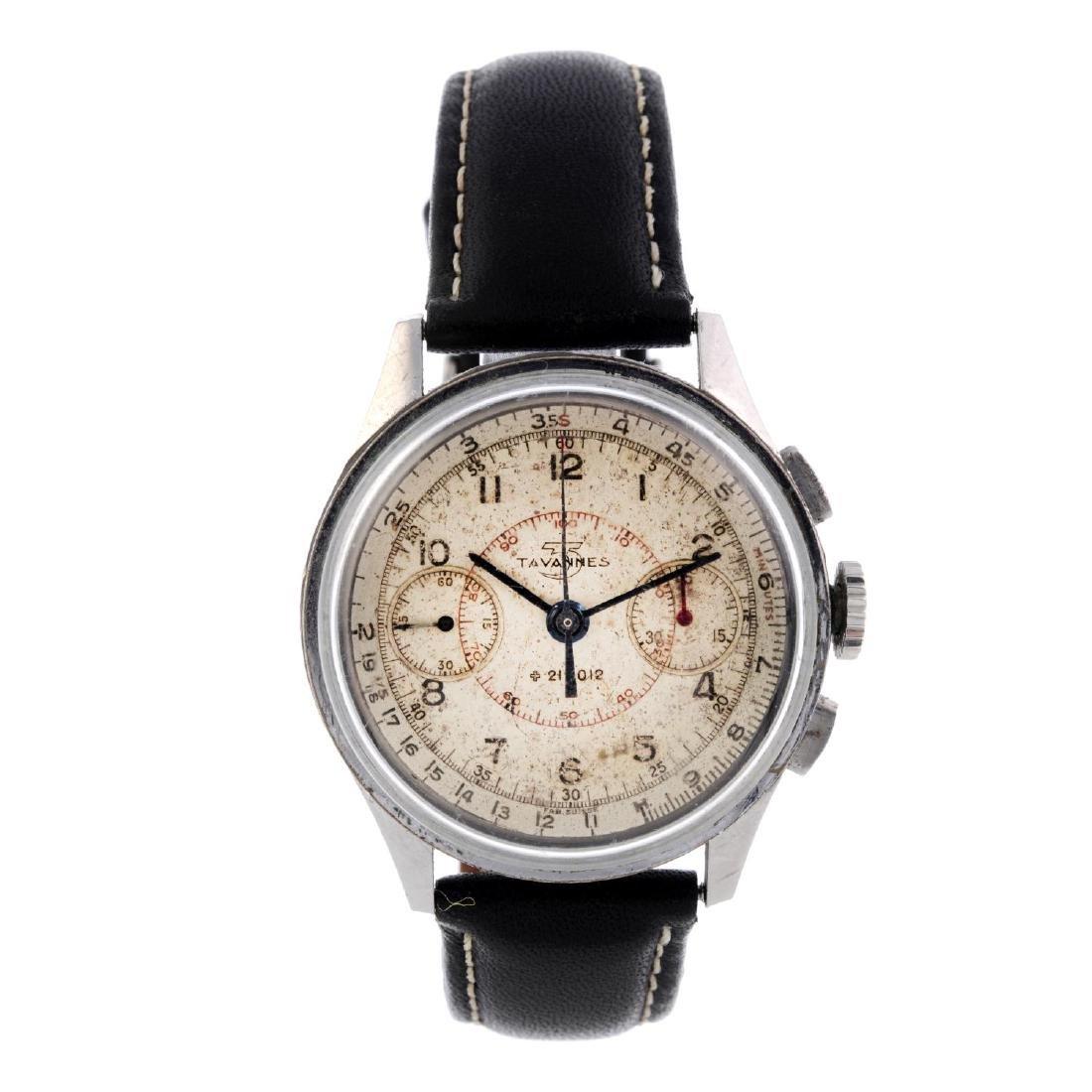 TAVANNES - a gentleman's chronograph wrist watch.
