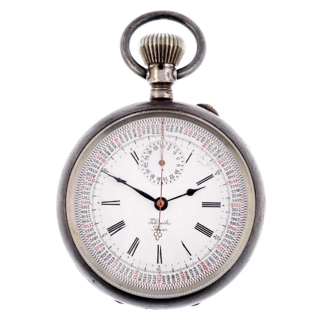An open face pocket watch chronograph by Kaiser. White