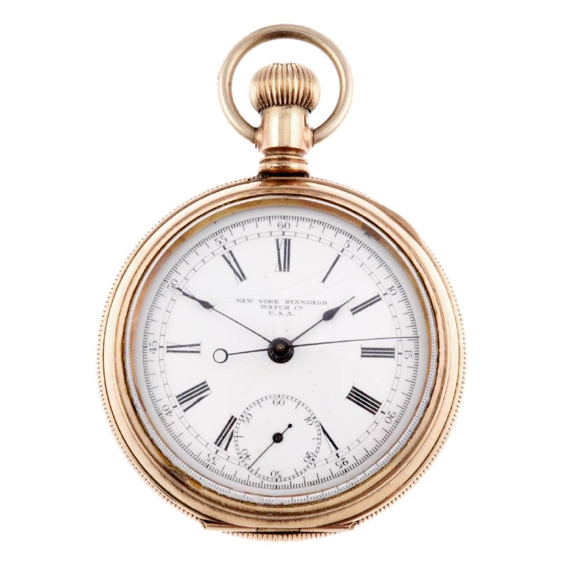 An open face chronograph pocket watch by New York