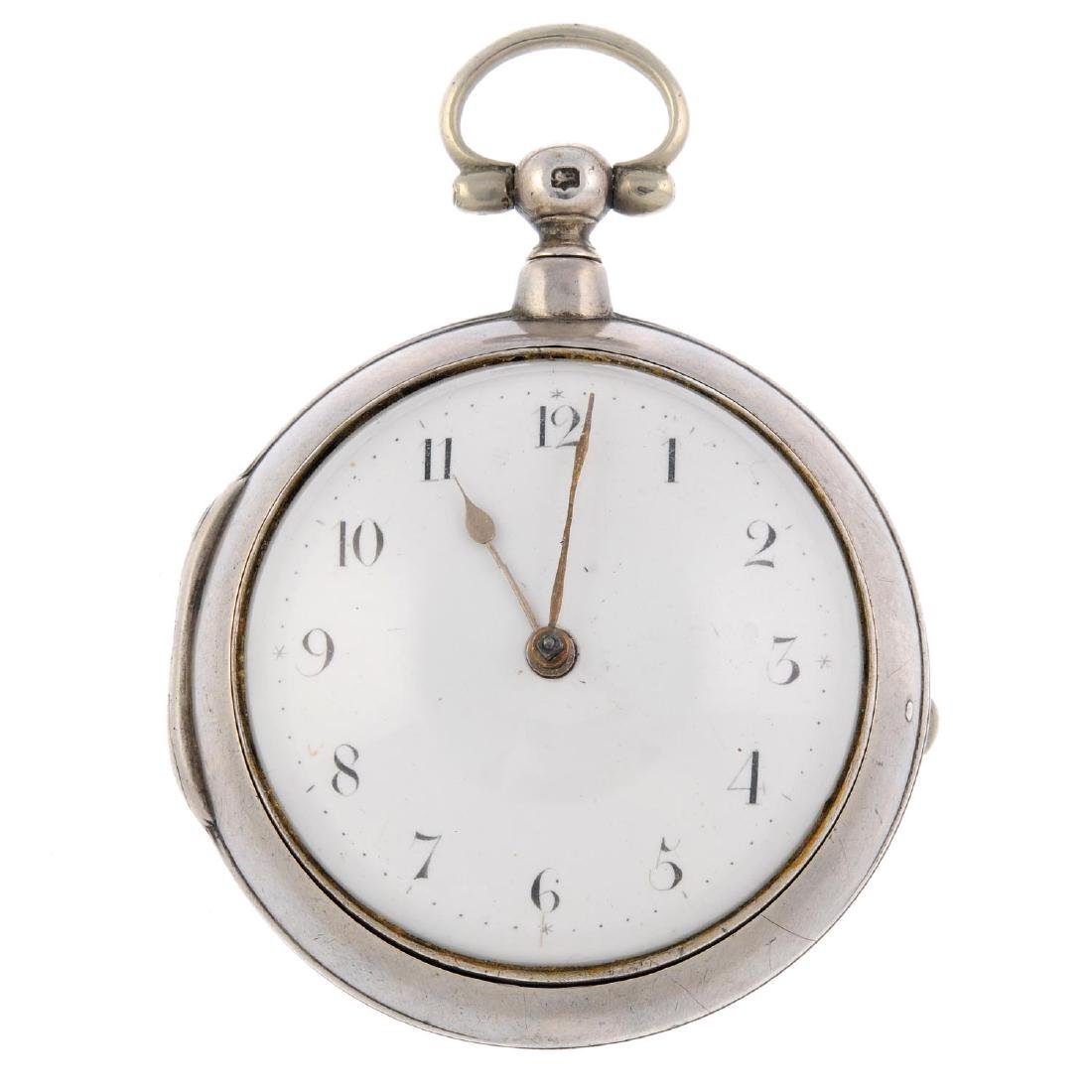 A pair case pocket watch by Hollison. Silver cases,