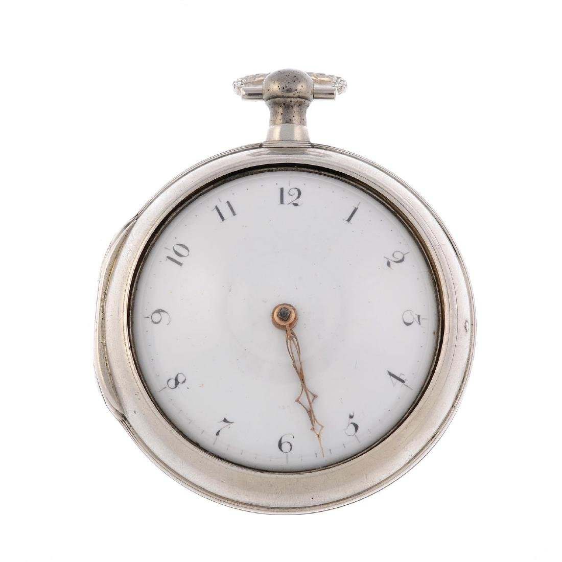 A pair case pocket watch by R.Westmore. Silver cases,