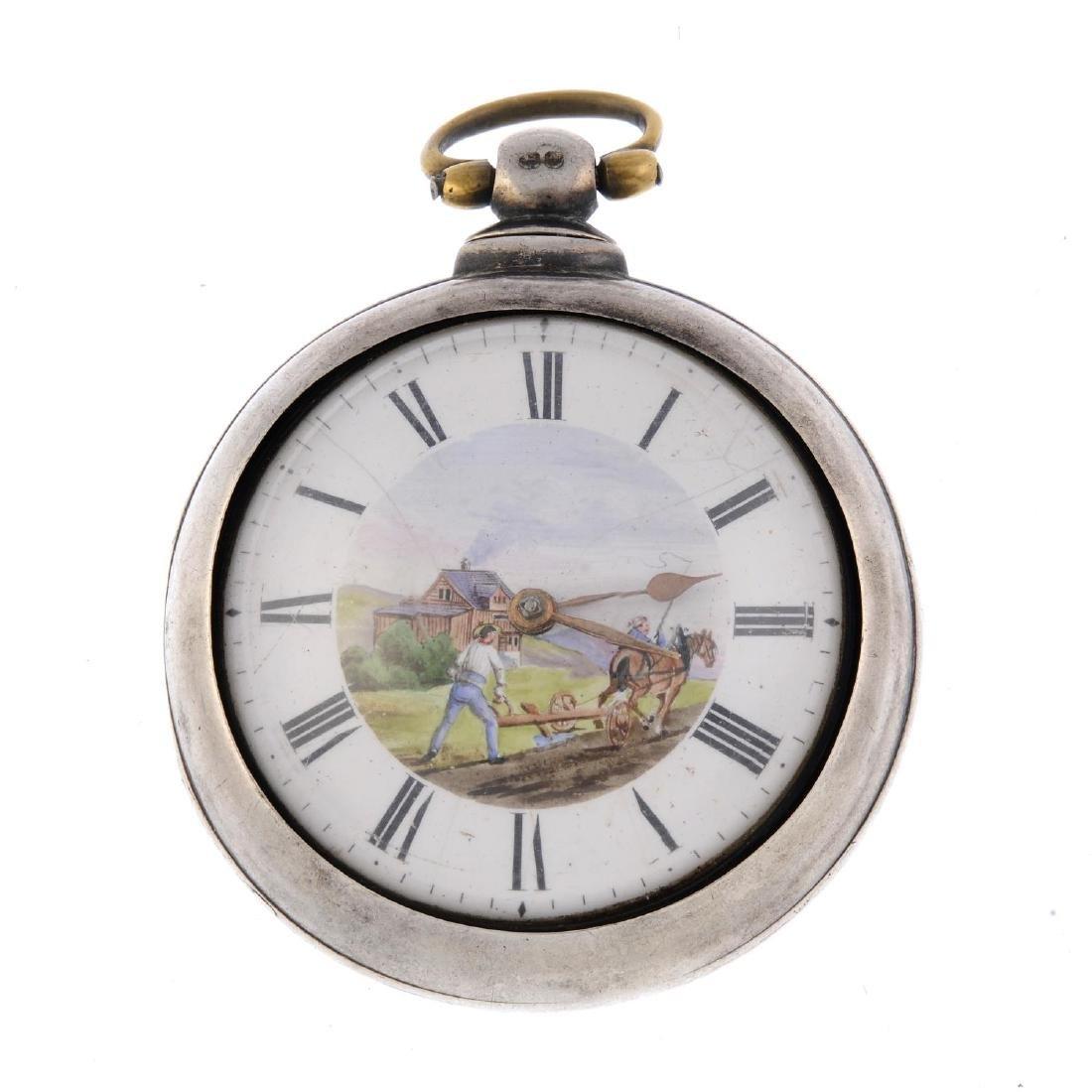 A pair case pocket watch. Silver case, hallmarked