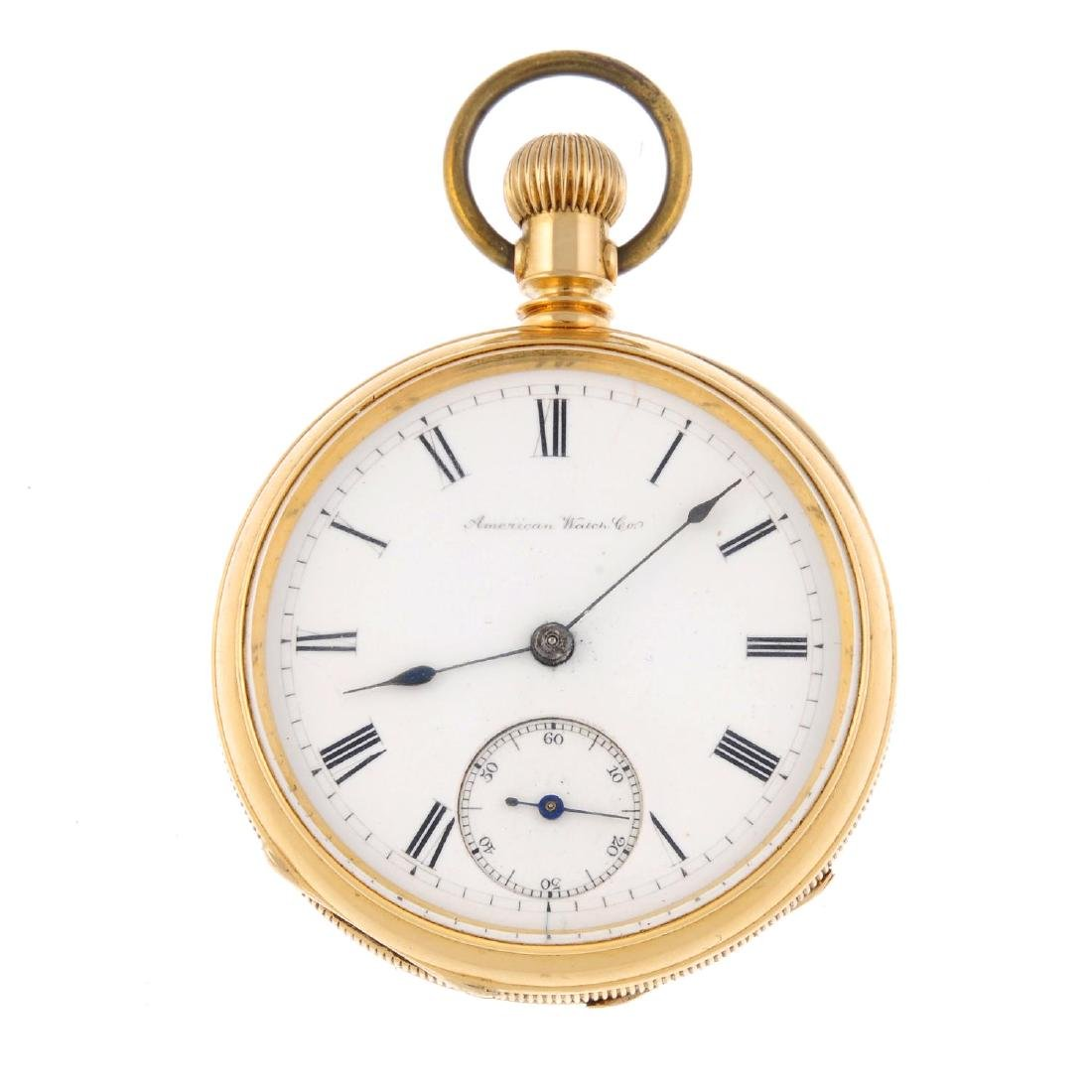 An open face pocket watch by American Watch Co. Yellow