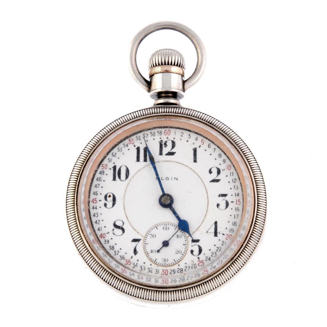 An open face railroad grade pocket watch by Elgin.
