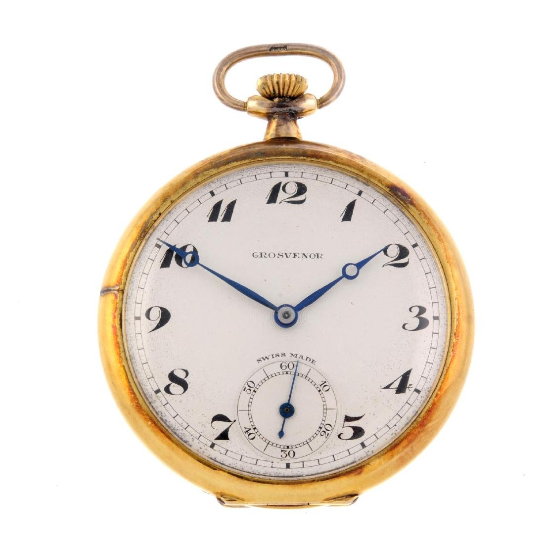 An open face pocket watch by Grosvenor. 9ct yellow gold