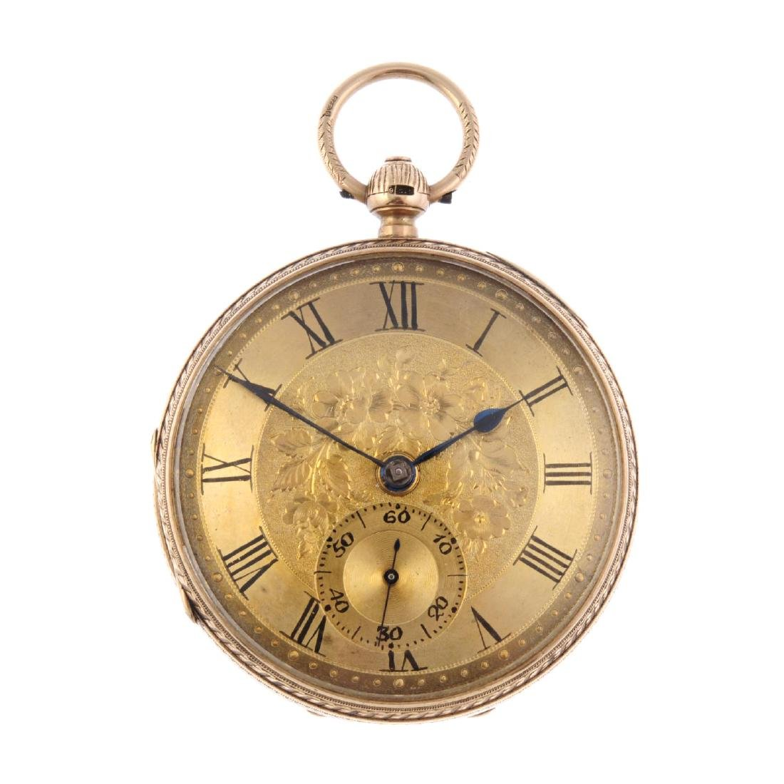 An open face pocket watch by John Forest. 9ct yellow