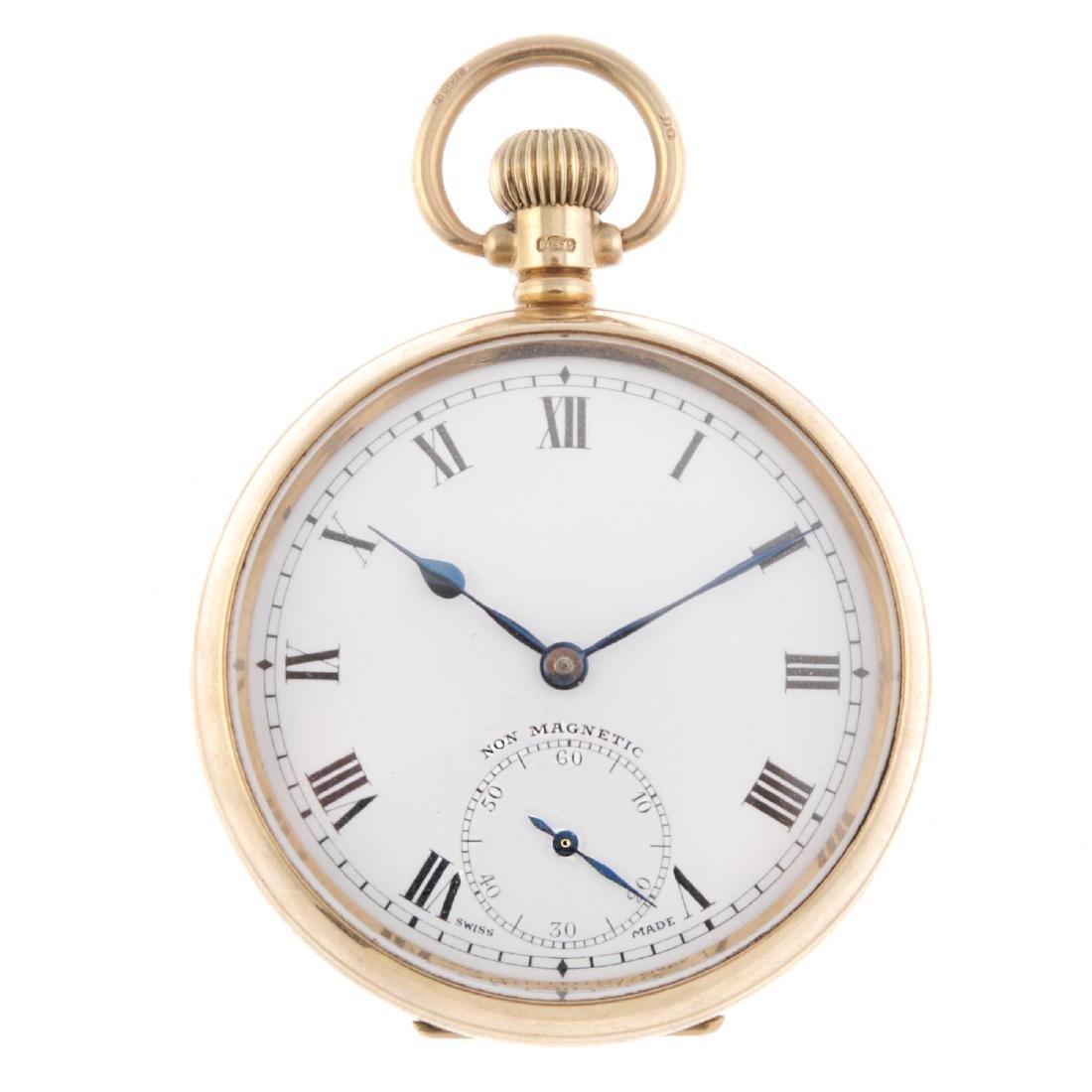 An open face pocket watch. 9ct yellow gold case,