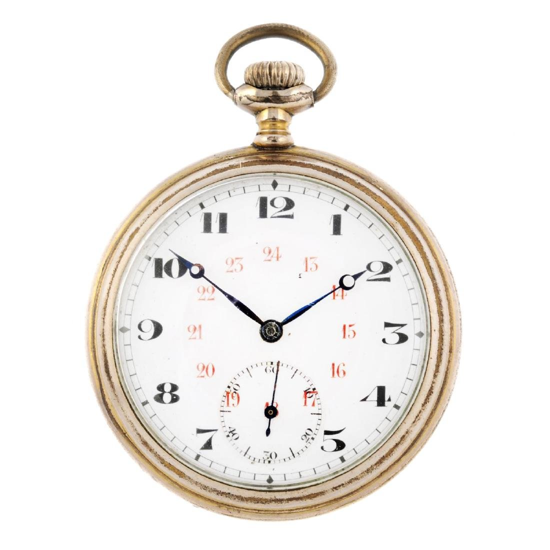 An open face pocket watch. Gold plated case. Unsigned