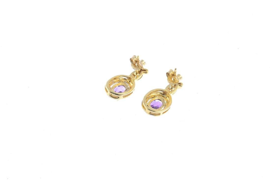 A pair of 9ct gold amethyst and diamond earrings. Each - 2