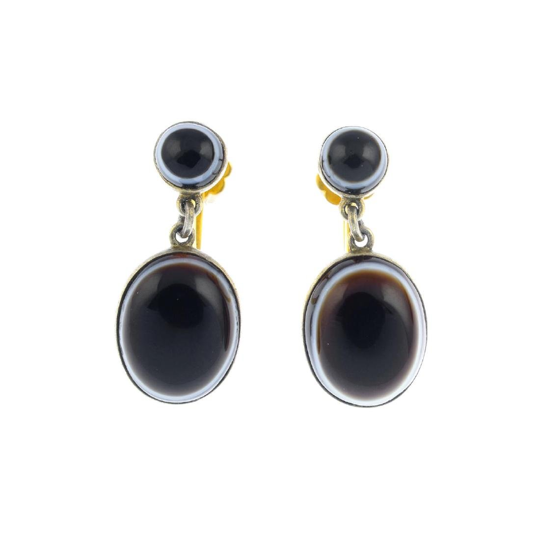 A pair of late Victorian banded agate earrings. Each