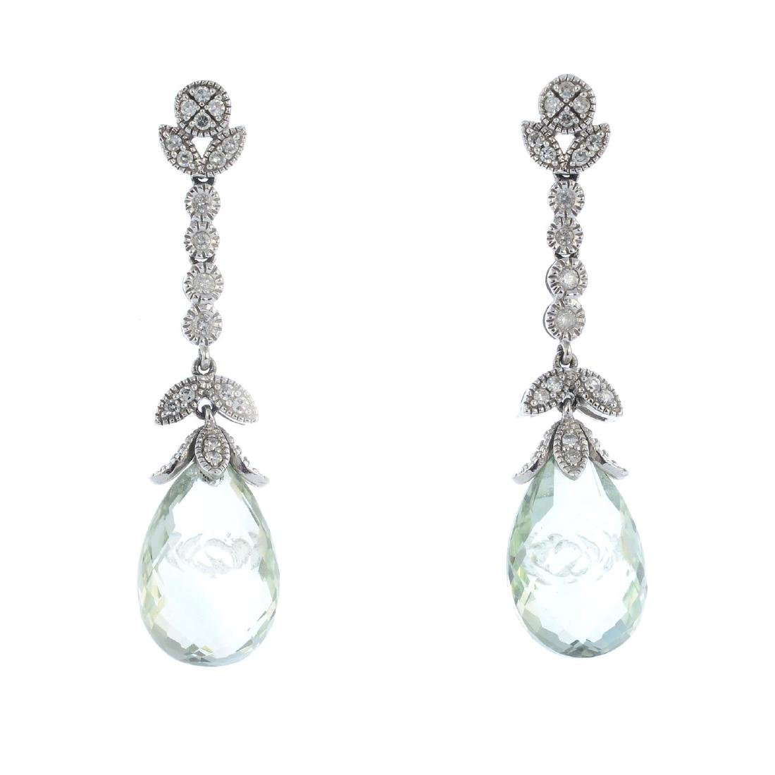 A pair of 9ct gold prasiolite and diamond earrings.