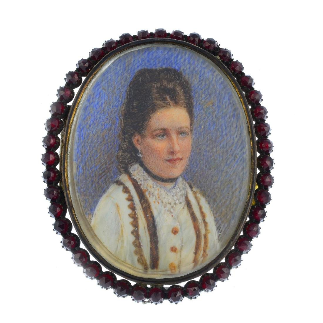 A late Victorian double sided portrait miniature. Of