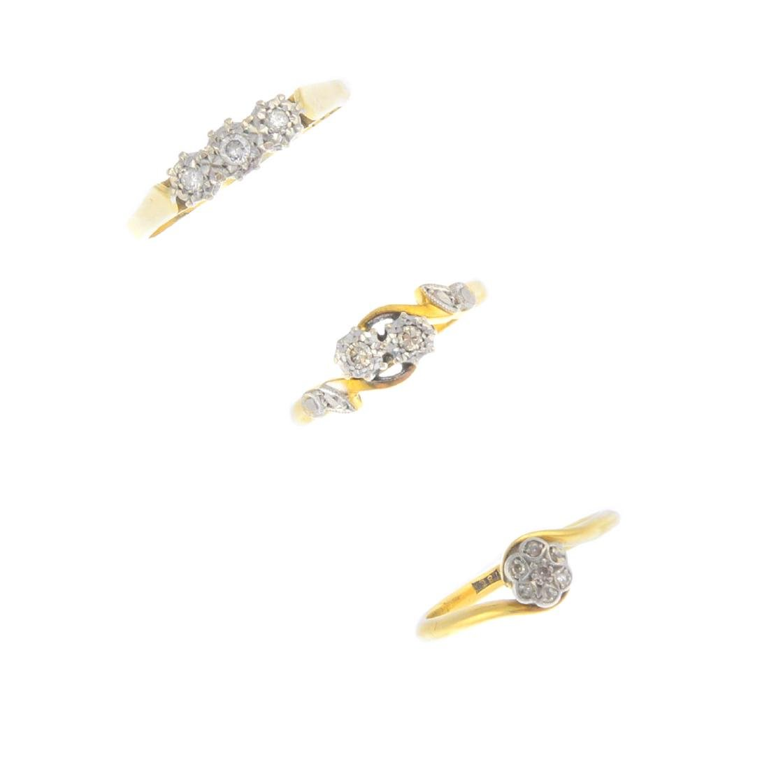 Three diamond rings. To include a diamond cluster ring,