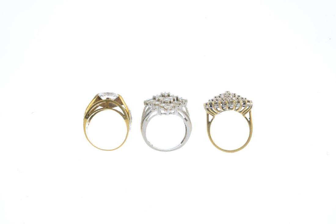 Seven 9ct gold gem-set rings. To include a diamond - 2