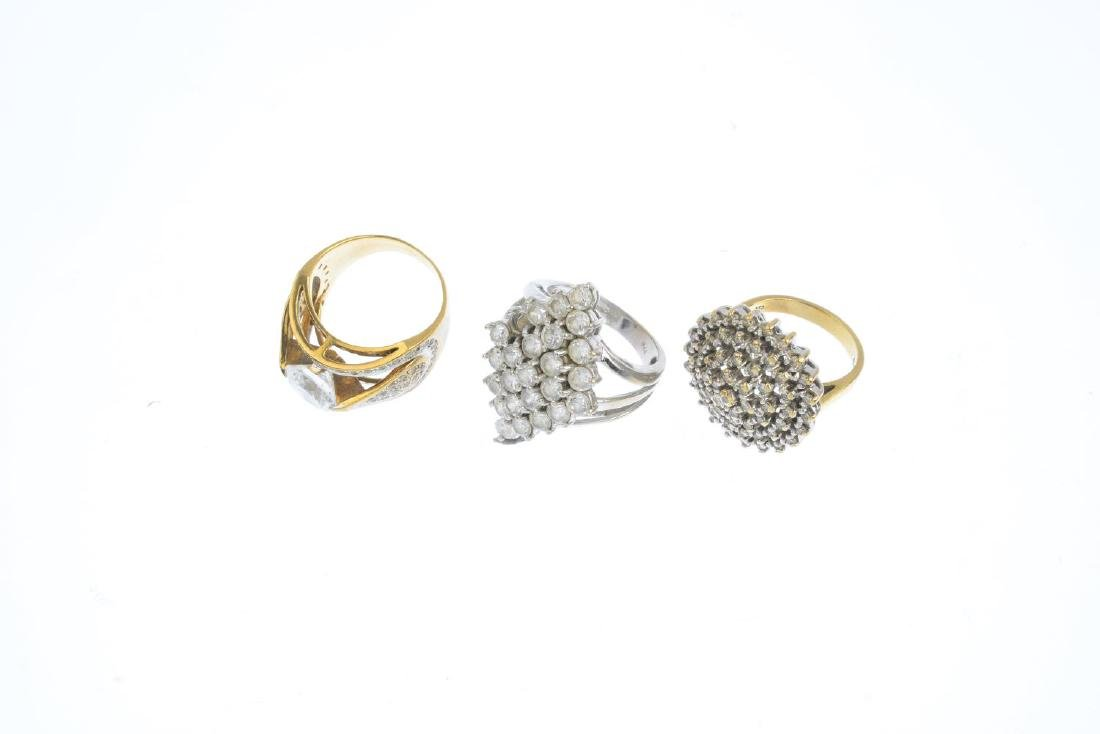 Seven 9ct gold gem-set rings. To include a diamond - 3