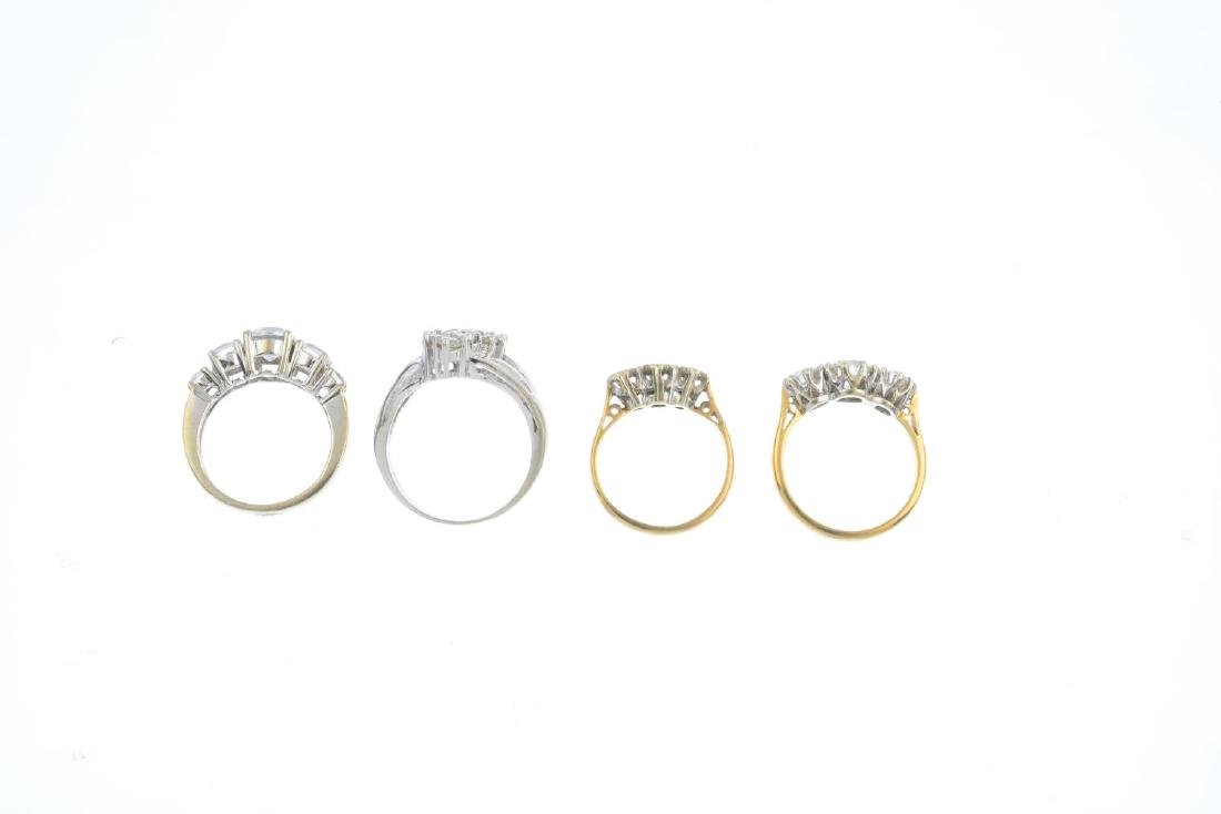Seven 9ct gold gem-set rings. To include a diamond - 4