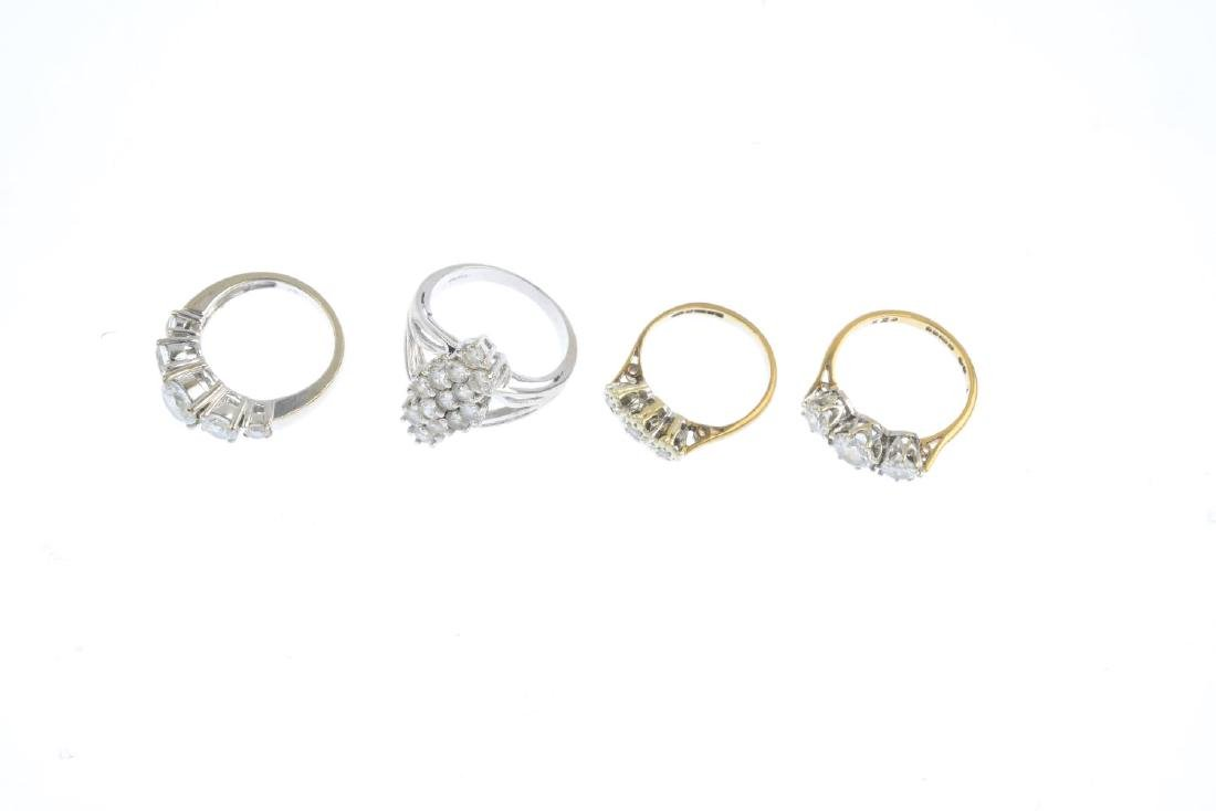 Seven 9ct gold gem-set rings. To include a diamond - 5