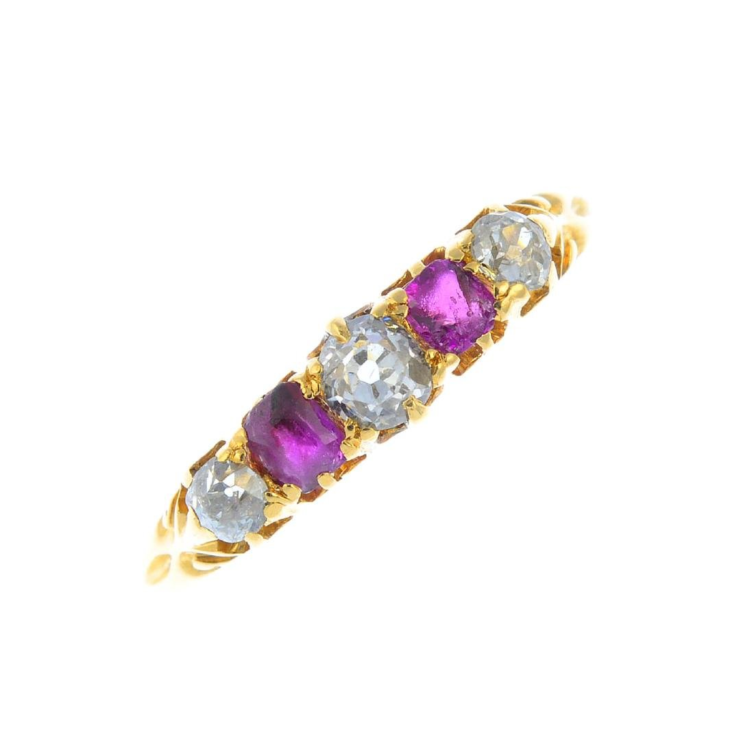 A diamond and ruby five-stone ring. The alternating