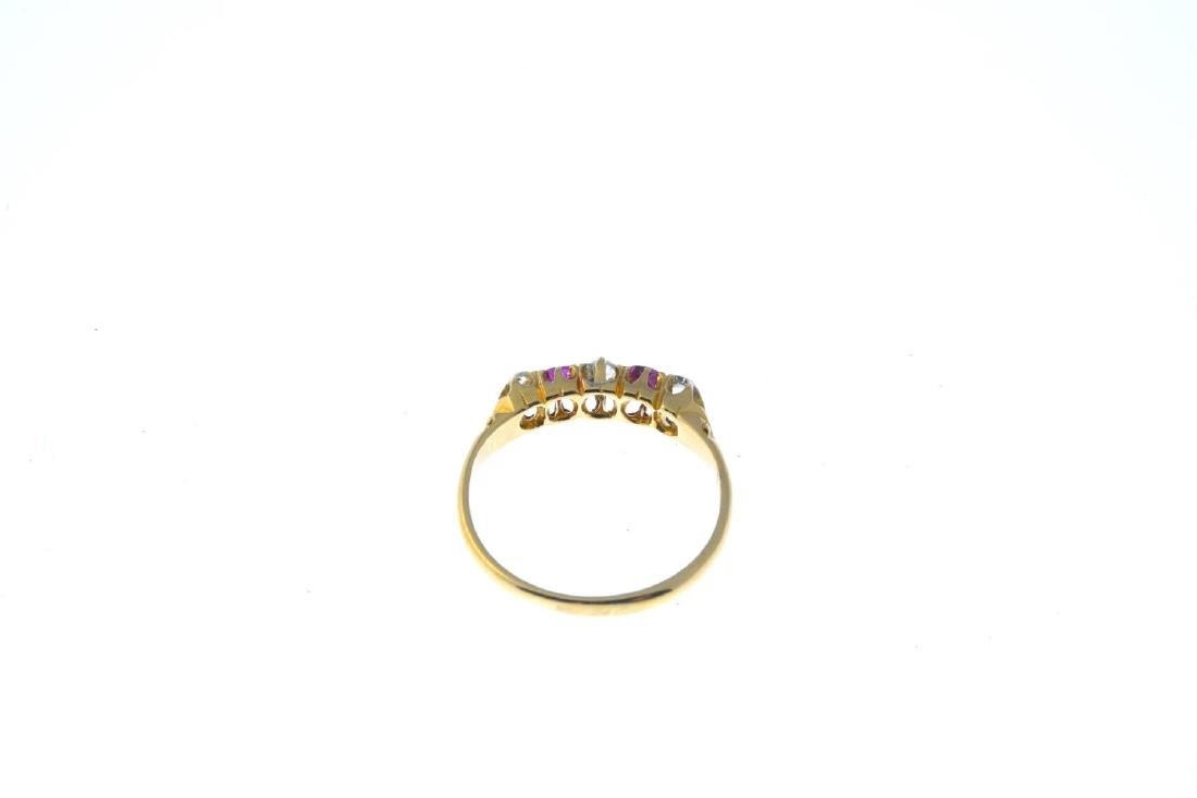 A diamond and ruby five-stone ring. The alternating - 3