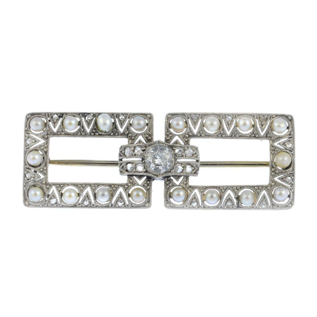 A mid 20th century seed pearl and diamond brooch.