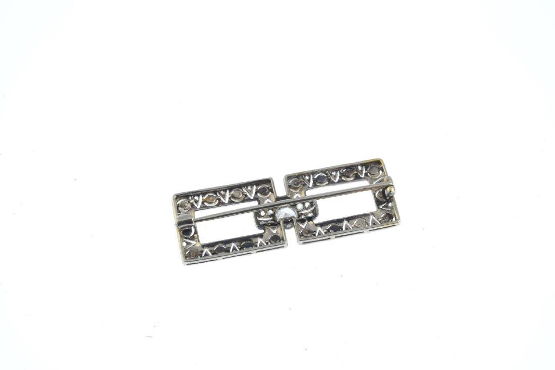 A mid 20th century seed pearl and diamond brooch. - 2
