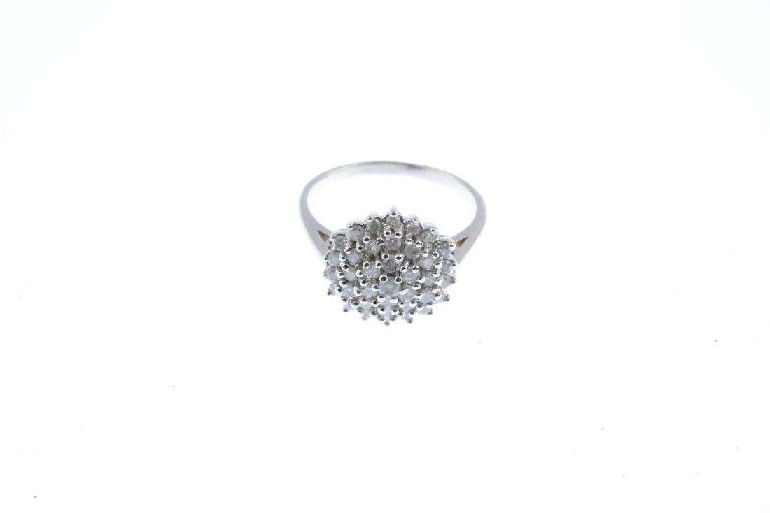 A 9ct diamond cluster ring. Designed as a brilliant-cut - 2