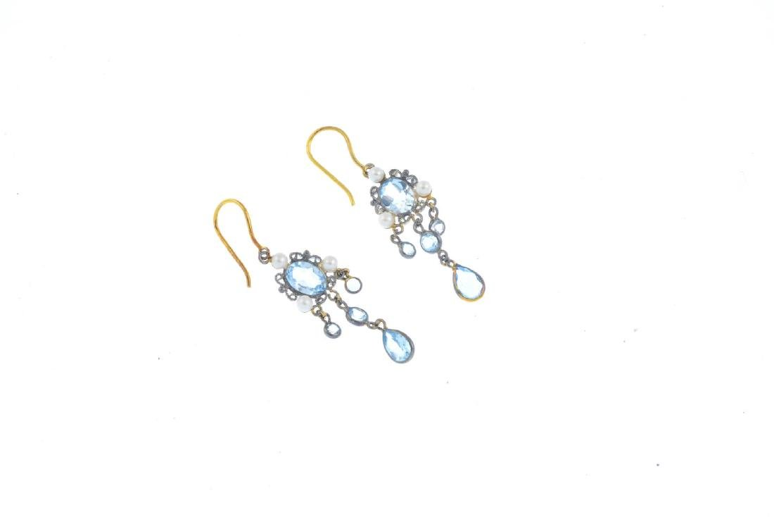 A pair of topaz and seed pearl earrings. Each designed - 2