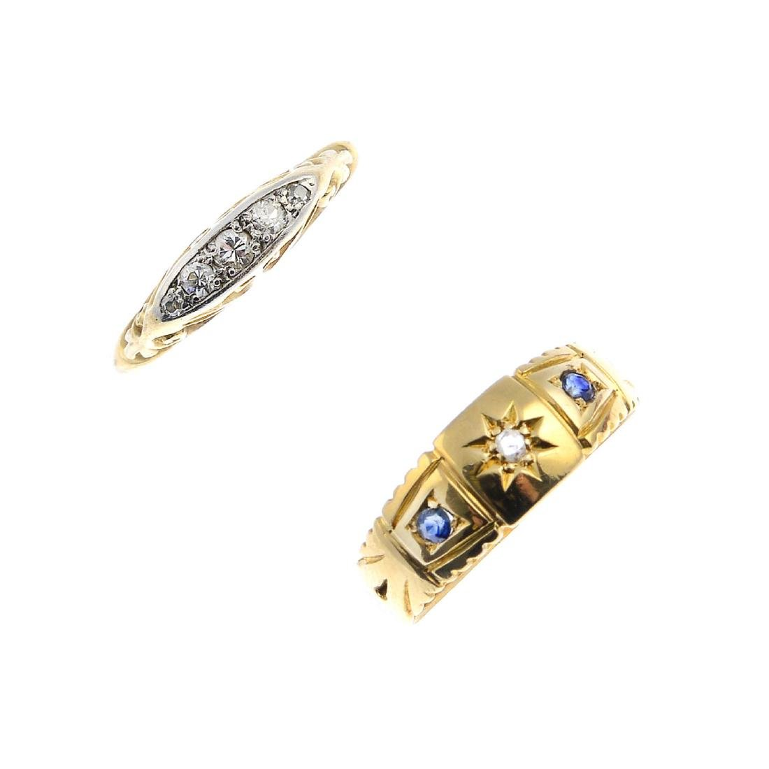 Two diamond rings. To include an Edwardian 18ct gold
