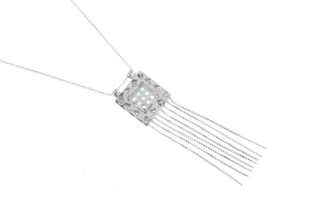 An 18ct gold peridot and diamond pendant. Of square - 3