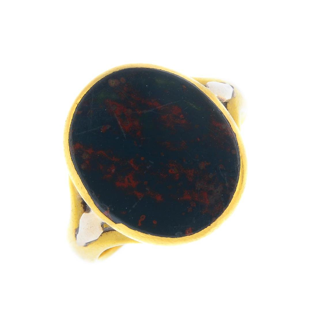 An early 20th century 22ct gold bloodstone signet ring.