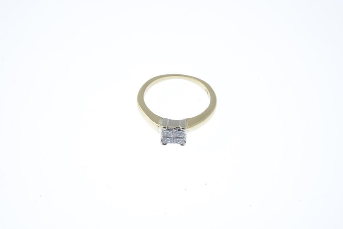 A diamond four-stone ring. The square-shape diamond - 2