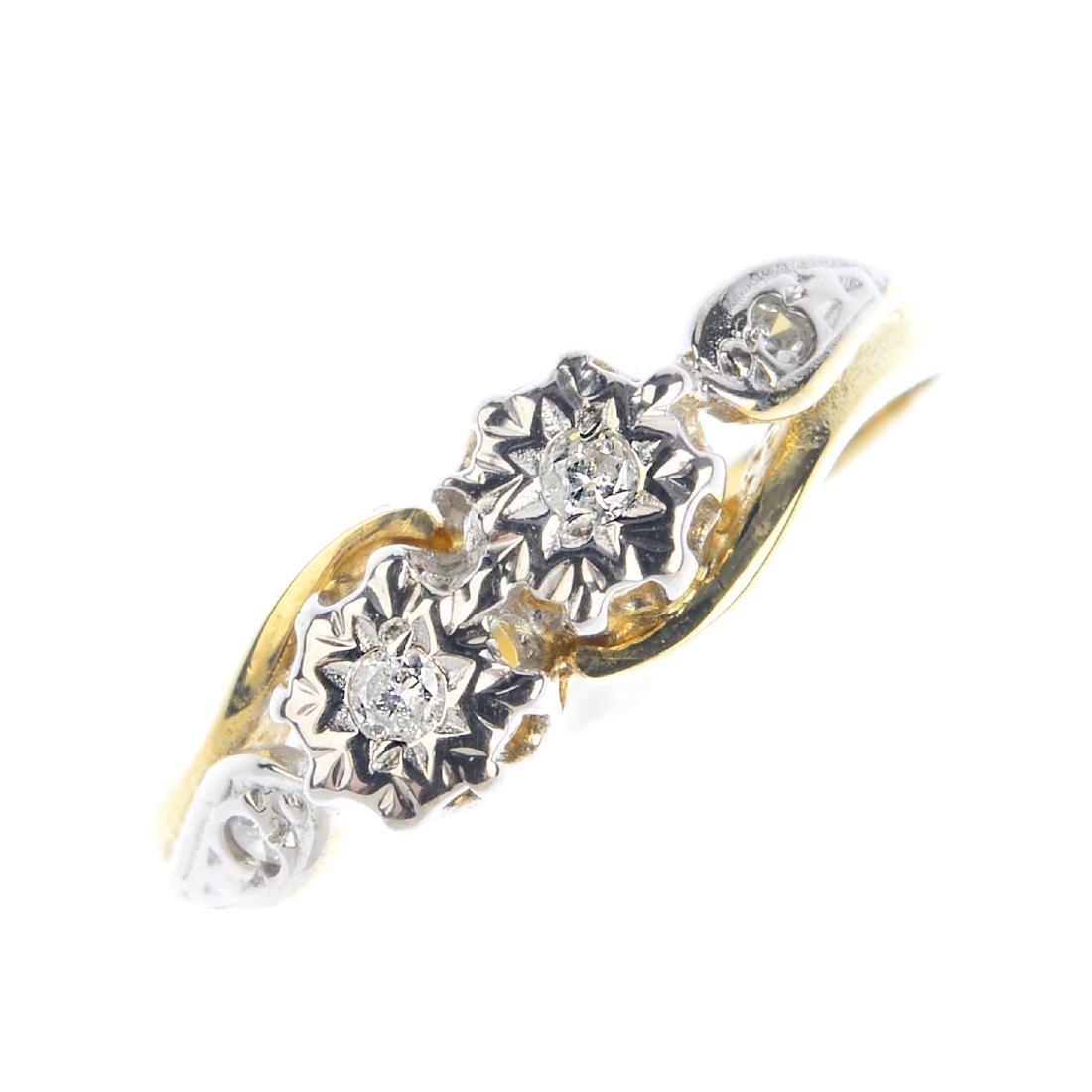 A 9ct gold diamond ring. Designed as a brilliant-cut