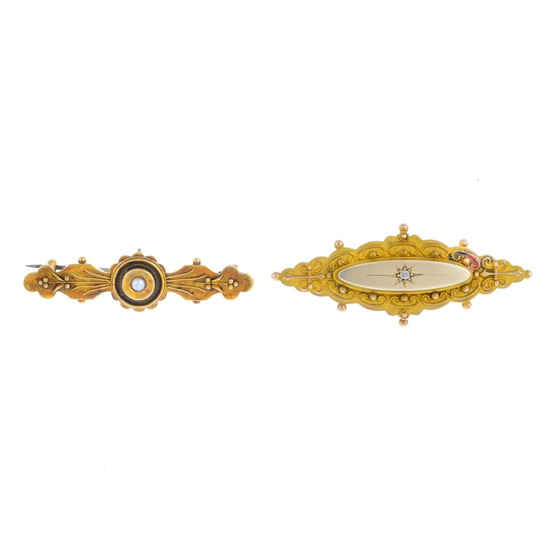 Two early 20th century gold brooches. To include a 15ct