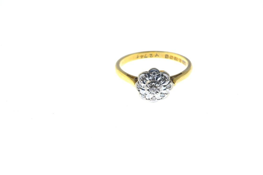 An 18ct gold diamond cluster ring. The brilliant-cut - 2
