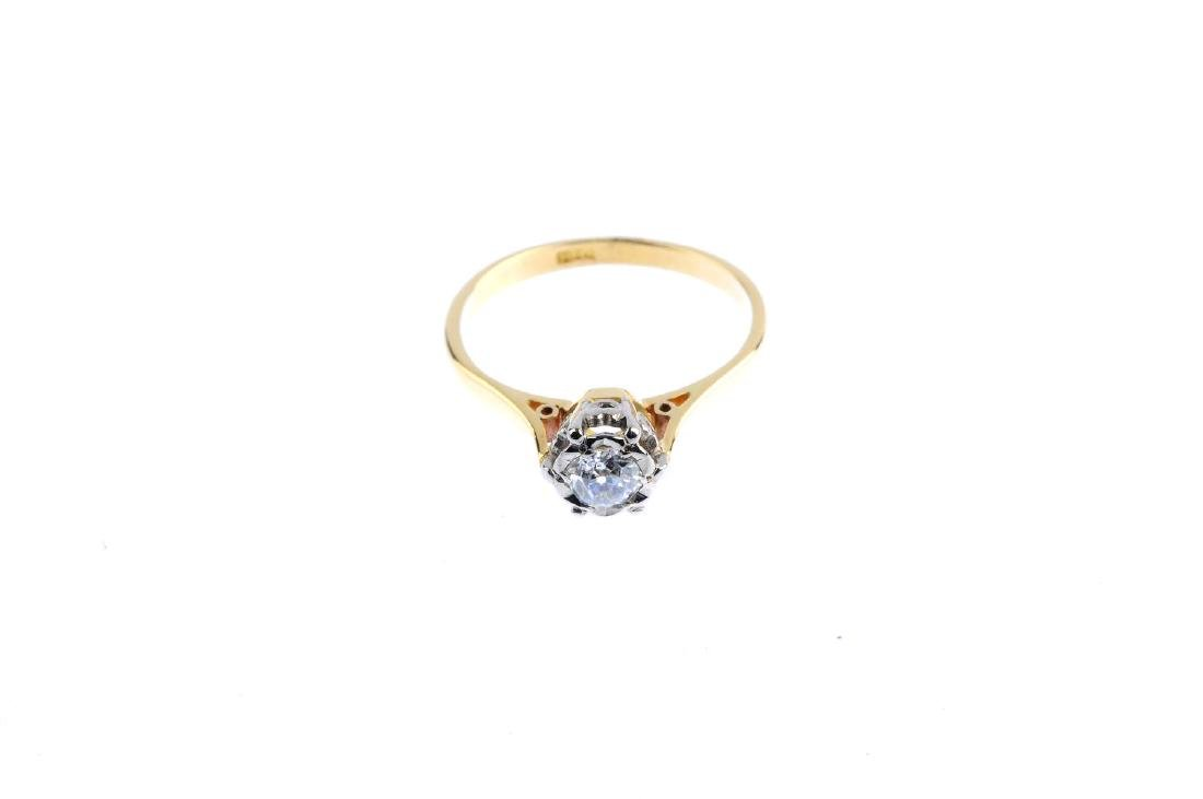 A mid 20th century gold diamond single-stone ring. The - 2