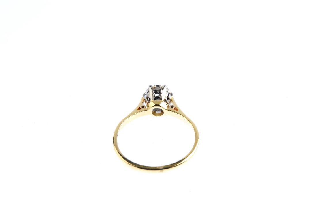 A mid 20th century gold diamond single-stone ring. The - 3
